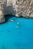 Boats on sea - top view with a lot of blue copy — Stock Photo