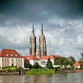 Twin towers of the cathedral in Wroclaw, Poland, — Stock Photo