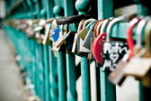 Padlock hanging on one of the bridges in Wroclaw — Stock Photo