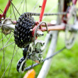 Rear racing bike cassette on the wheel with chain - 图库照片