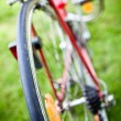 Rear racing bike wheel on the wheel with chain - Stock Photo