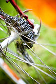 Rear racing bike cassette on the wheel with chain — Stock Photo
