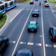 Cars in motion blur on a street of Wroclaw — Stock Photo