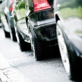 Traffic jam in flooded highway cause rain — Stock Photo