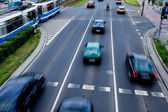 Cars in motion blur on a street of Wroclaw — Stockfoto