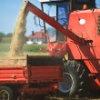 Tractor and combine harvesting wheat — Stock Photo #3711328