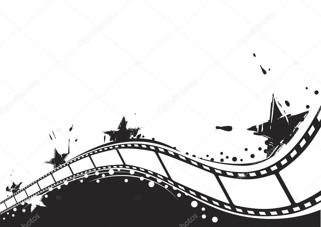 Cinema theme background with stars and film  Stock Vector #3100035