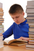 Boy in Library — Stockfoto