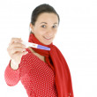 Young woman and positive pregnancy test — Stock Photo #3064495