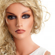 Mannequin with long blond hair — Stock Photo