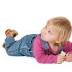 Eating mandarin little girl — Stock Photo #3335868