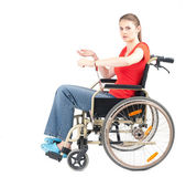 Woman handcuffed to wheelchair — Stock Photo