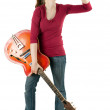 Woman with alcohol and guitar — Stock Photo