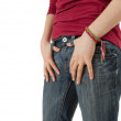 Stock Photo: Womwith hand near pocket