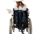 Lady tourist on the wheelchair — Stock Photo