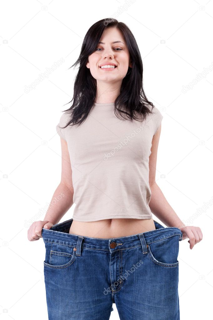 Weight loss woman  in too great jeans trousers  — Stok fotoğraf #3406016