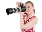 Kobieta fotograf fotografowania — Zdjęcie stockowe