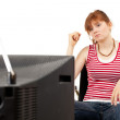 Watching tv woman on wheelchair — Stock Photo