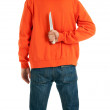 Standing man from knife for backs - Stock Photo