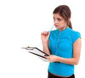 Jeune femme avec le presse-papier — Photo