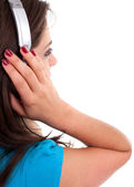 Beautiful woman with mp3 player — Stock Photo
