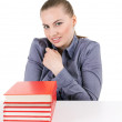 Stock Photo: Woman with stack of books