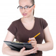 Young woman with clipboard — Foto Stock