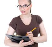 Jonge vrouw met klembord — Stockfoto