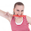 Young woman with lollipop — Stock Photo