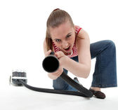 Woman with hoover — Stock Photo
