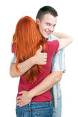 Couple, man smailing and thumb up — Stock Photo
