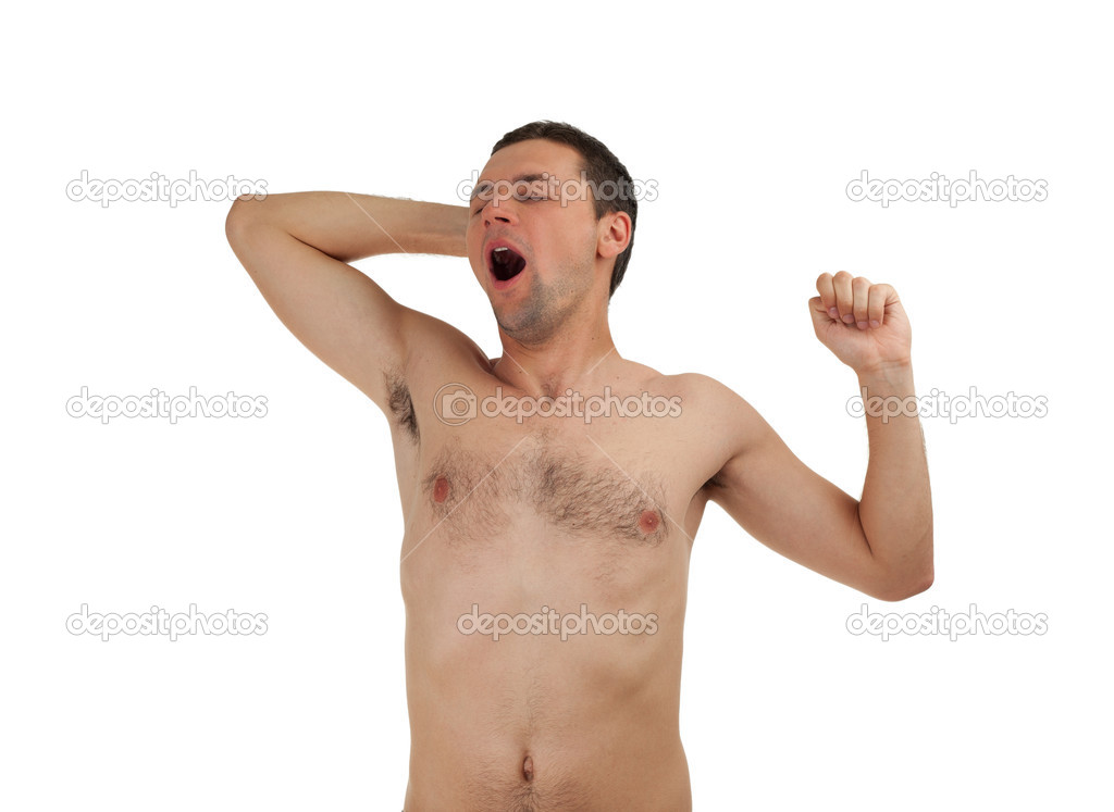 Standing young man yawning and stretching, isolated  — Stock Photo #3675255
