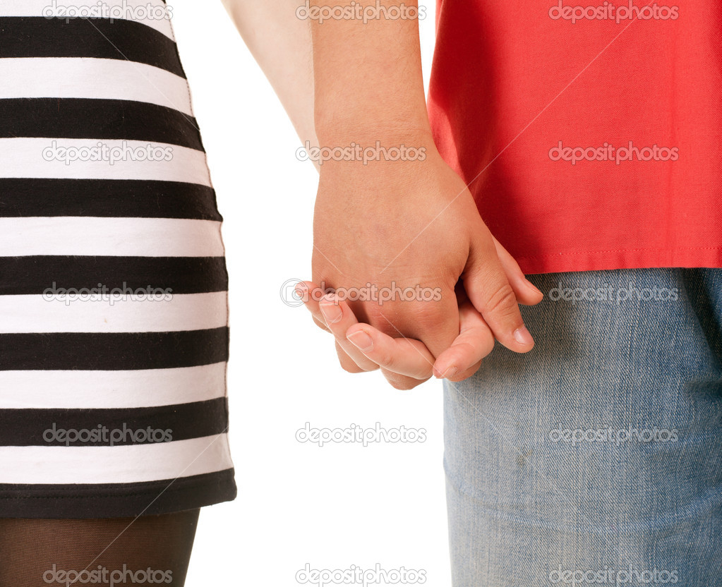 Two persons holding on hands isolated on white — Stock Photo #3676746