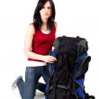 Young female tourist with backpack — Stock Photo #3719376