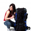 Young female tourist with backpack — Stock Photo #3719418