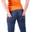 Stock Photo: Womwith hand in pocket
