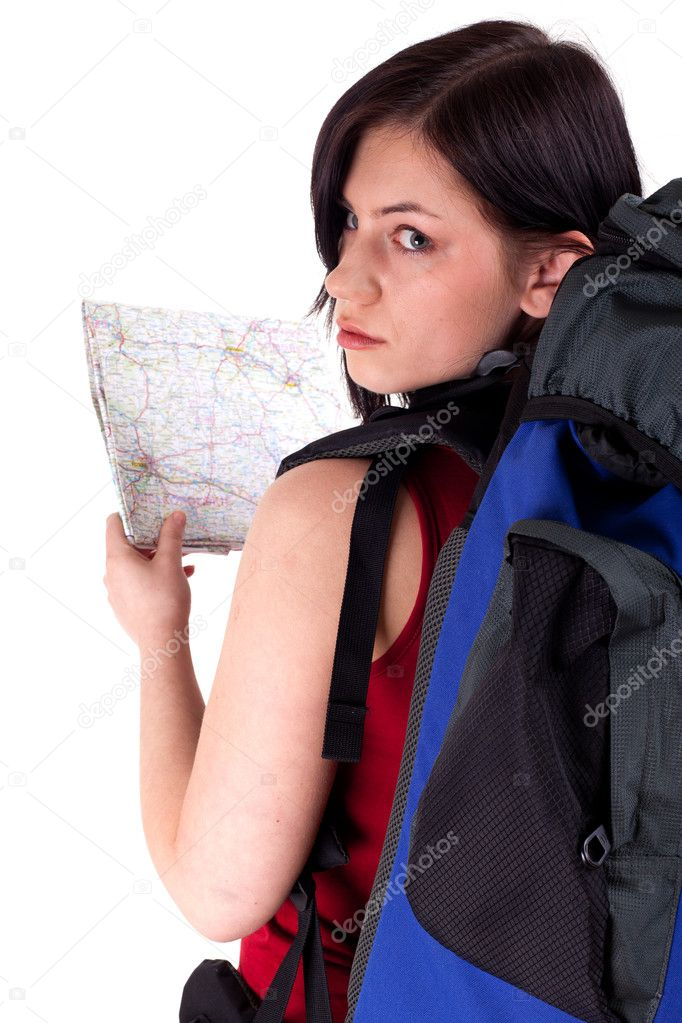 Young female tourist with backpack and map — Stock Photo #3719572