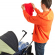 Young father with baby stroller — Foto de Stock