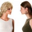 Woman with mannequin — Stock Photo