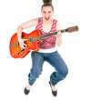 Royalty-Free Stock Photo: Jumping joyful guitarist woman