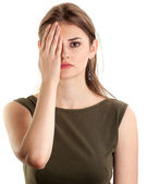 Young woman covers eye hand — Stock Photo