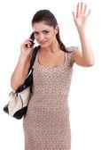 女人讲话由移动电话 — 图库照片