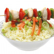 Skewers with rice — Stock Photo