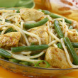 Pasta with chicken and green beans. — Stock Photo
