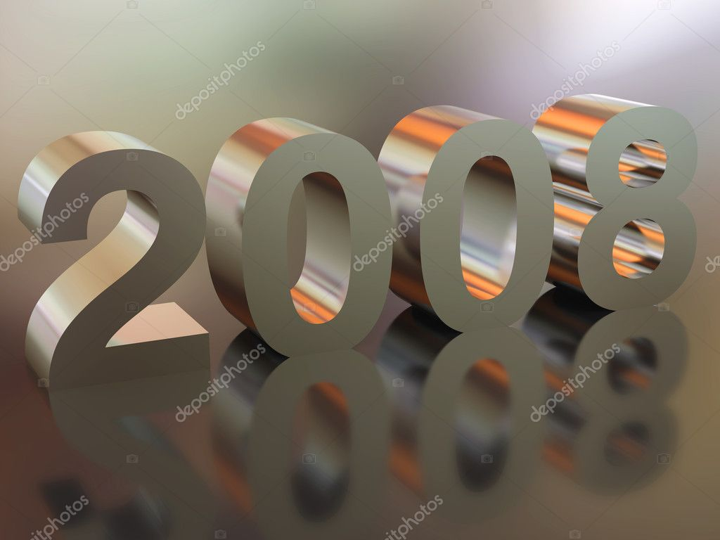 High resolution image new-year.  3d illustration. Metal text. Mirror reflection. — Stock Photo #2759692