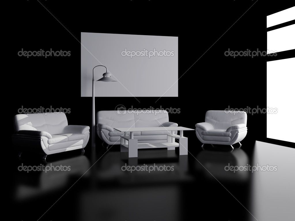 High resolution image interior. 3d illustration modern interior. Picture on a wall. — Stock Photo #3185072