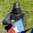 Reconstruction of knightly fight — Stock Photo