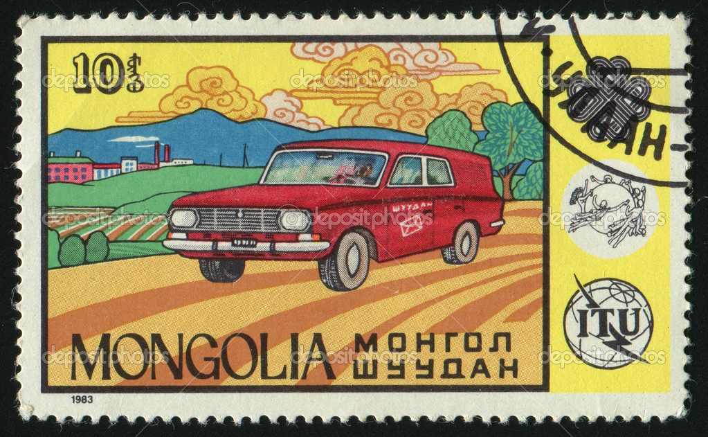 MONGOLIA - CIRCA 1983: Mail car communications emblem, circa 1983. — Stock Photo #3381092