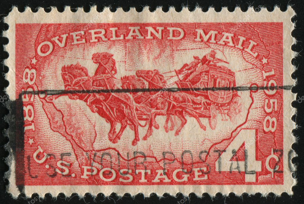 UNITED STATES - CIRCA 1958: stamp printed by United states, shows  Mail Coach and Map of Southwest U.S., circa 1958.  Stock Photo #4036431