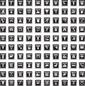 Black icons set seventeen — Stock Vector